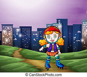 A young girl rollerskating across the tall buildings -...
