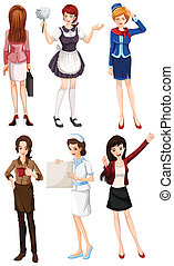Female with different works