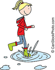 Happy kid - Illustration of a girl jumping to a puddle