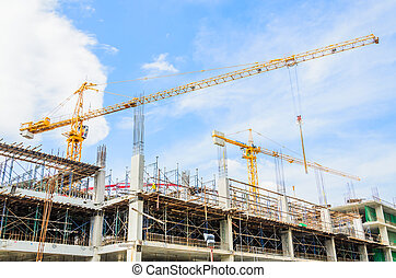 Construction crane building tower