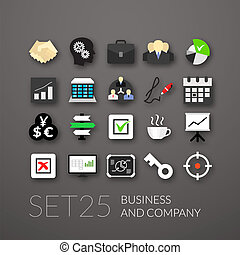 Flat icons set 25 - business and company