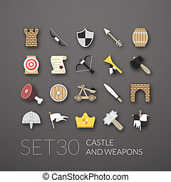 Flat icons set 30 - castle and wepon