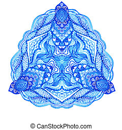 Watercolor gzhel. Doily round lace pattern, circle background with many details, looks like crocheting handmade lace, lacy arabesque designs.Orient traditional ornament. Oriental motif