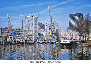 Port in Rotterdam, Netherlands - City port with in...