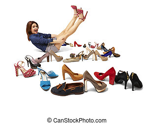 Fashionable woman and great selection of shoes