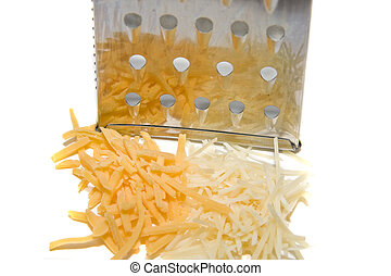 Grater and Two Cheeses - Fresh grated white and yellow...