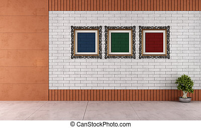 Empty room with white brick wall and classic frame