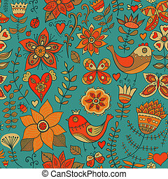 Seamless texture with flowers, birds and butterflies....