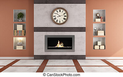 Contemporary gas fireplace in a cl - Gas fireplace in a...
