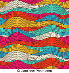 Seamless wave hand-drawn pattern, waves background...