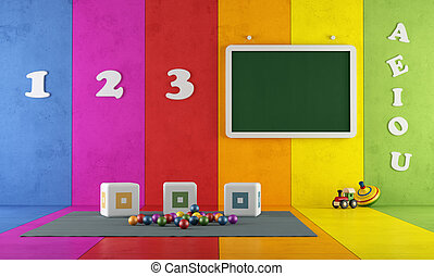 Colorful playroom - Play room with toys and blackboard...