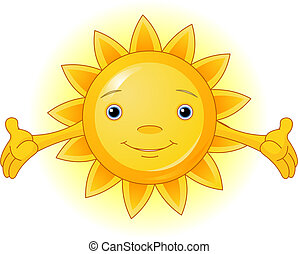 Summer Sun  - Cartoon Character  of Cute Summer Sun