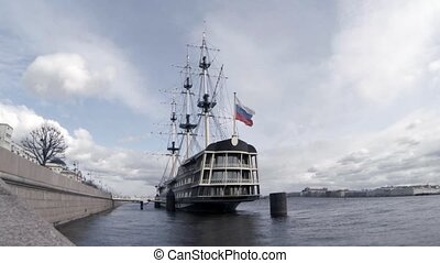 sailing frigate at the pier - old sailing frigate at the...