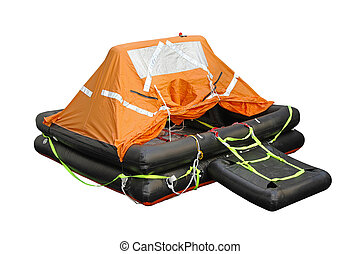 Life raft - Inflatable life raft isolated