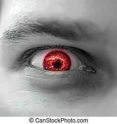 Serious sad and angry looking man with red eye. Vector...