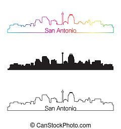 San Antonio skyline linear style with rainbow in editable...