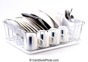 Dishes rack on isolated white background