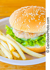 Hamburger and french fries , fast food