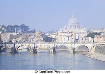 rome view - san peter basilica view in the city of rome