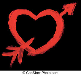 Hand painted heart with arrow isolated on black