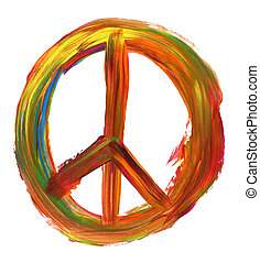 hand painted peace sign isolated on pure white background