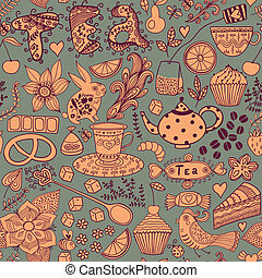 Tea,sweets seamless doodle pattern. Copy that square to the...