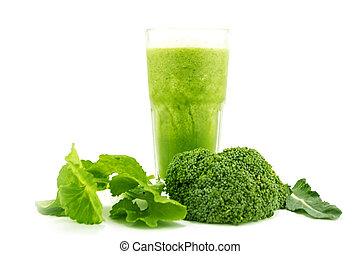 Smoothie juice and healthy drink on white background - Green...