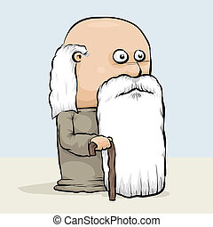 Wise Old Man - A wise, old cartoon man with a cane and a...