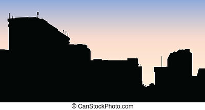 Oshawa, Ontario - Skyline silhouette of the city of Oshawa,...