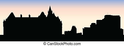 Parliament Hill Ottawa - Skyline silhouette of the city of...