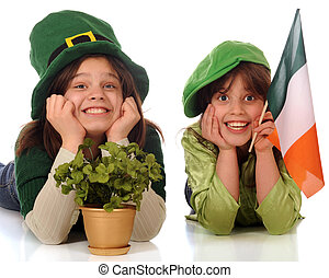 Happy St Patrick Celebraters - Two happy sisters celebrating...