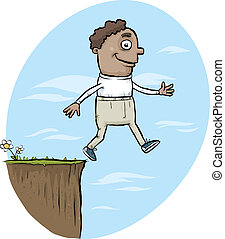 Walking Off Cliff - A cartoon man walking off the edge of a...