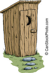Outhouse - A retro cartoon outhouse