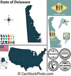 Map of state Delaware, USA