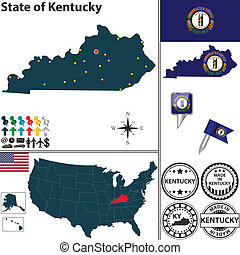 Map of state Kentucky, USA - Vector set of Kentucky state...