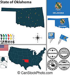 Map of state Oklahoma, USA - Vector set of Oklahoma state...