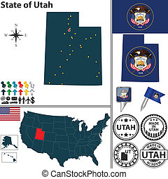 Map of state Utah, USA - Vector set of Utah state with flag...