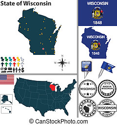 Map of state Wisconsin, USA - Vector set of Wisconsin state...