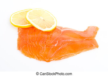 Salmon meat on white background