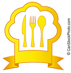 gold chef hat and kitchen utensil - gold icon with chef hat...