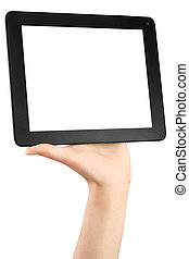 Hand holding a tablet