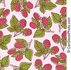Colorful raspberries vector seamless pattern