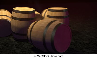 Wooden barrels with wine in cellar - Wooden barrels with...