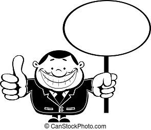 Retro businessman with Blank sign - Funny cartoon...