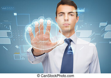 attractive buisnessman working with virtual sceen - business...