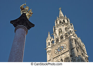 Marienplatz with Town Hall and Mary\'s Column in the Town...