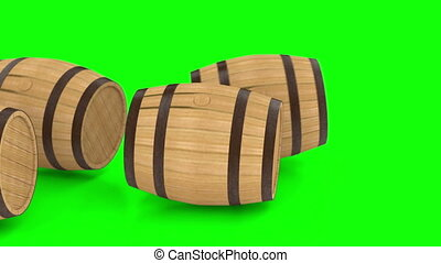 Wooden barrels with wine or beer, contains greenscreen alpha...