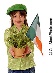 St. Patrick\'s Day Gift - A happy older elementary girl in...