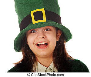 Celebrating with the Irish - Close-up of a happy preteen...