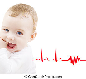 adorable baby boy - child, people and happiness concept -...